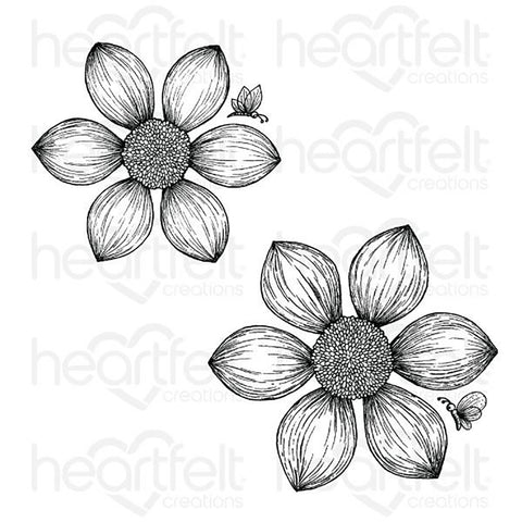 Dazzling Dahlia Cling Rubber Stamp Set