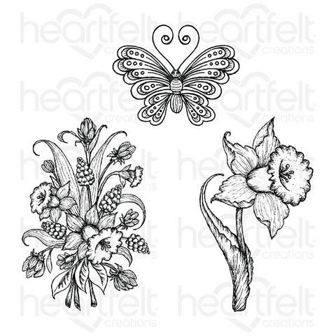 Delightful Daffodil Cling Rubber Stamp Set: Daffodil & Butterfly