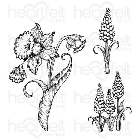 Delightful Daffodil Cling Rubber Stamp Set: Daffodil & Hyacinth