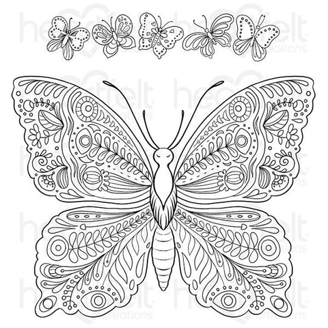 Floral Butterfly Cling Rubber Stamps: Large Floral Butterfly