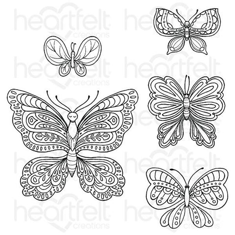 Floral Butterfly Cling Rubber Stamps: Small Floral Butterfly