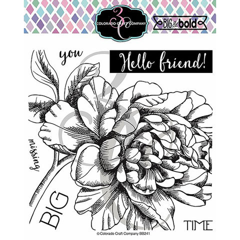Big & Bold Missing You Peony 6x6 Clear Stamps