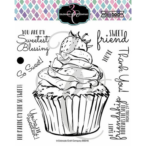 Big & Bold Sweetest Friend Cupcake 6x6 Clear Stamps