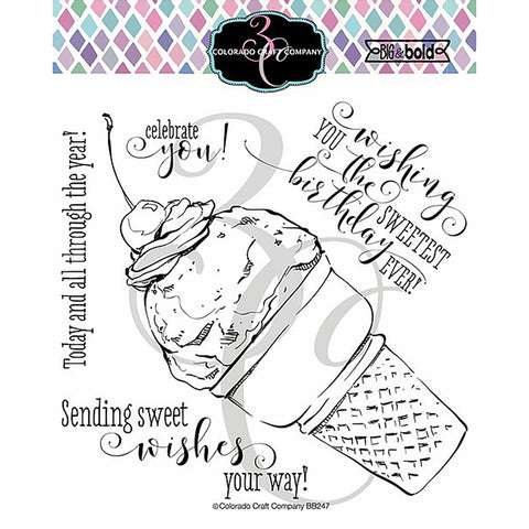 Big & Bold Sweetest Birthday Cone 6x6 Clear Stamps
