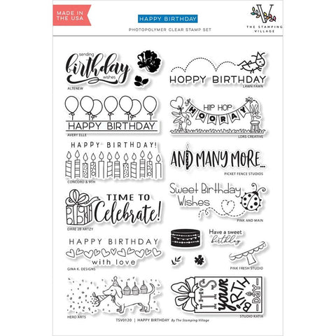 The Stamping Village Collab Clear Stamps Set: Happy Birthday