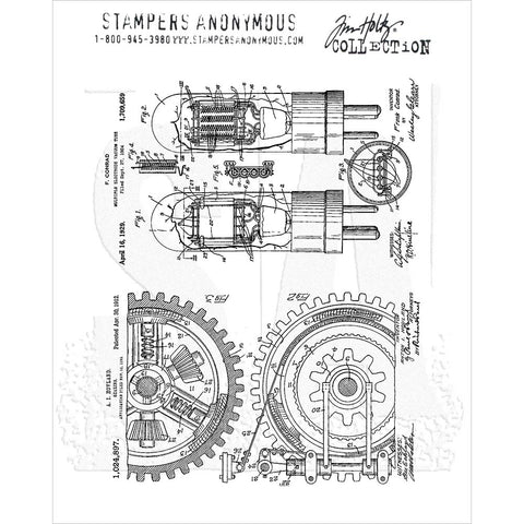 Tim Holtz Inventor 7 Cling Stamps