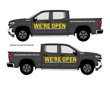 Load image into Gallery viewer, CHEVROLET WE'RE OPEN | VEHICLE-SIDE GRAPHICS
