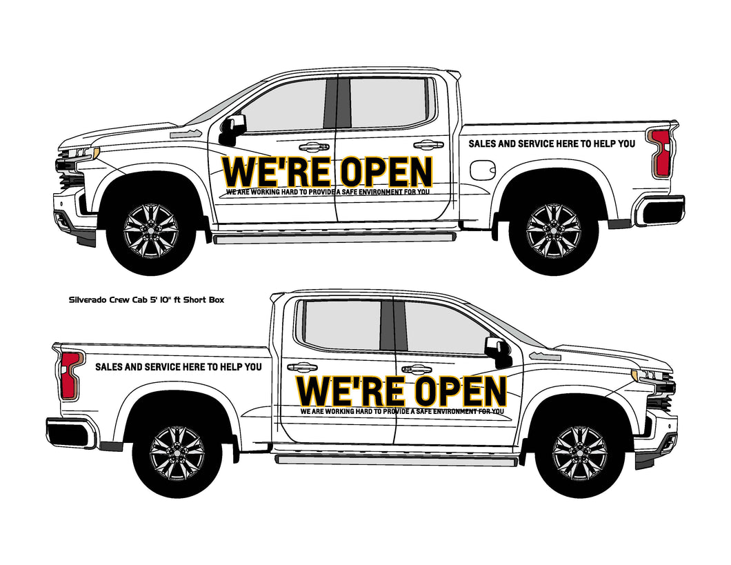 CHEVROLET WE'RE OPEN | VEHICLE-SIDE GRAPHICS