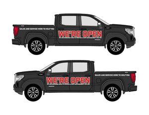 GMC WE'RE OPEN | VEHICLE-SIDE GRAPHICS