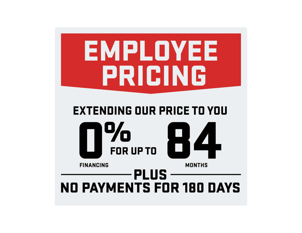 GMC EMPLOYEE PRICING WITH OFFER WINDSHIELD STICKER
