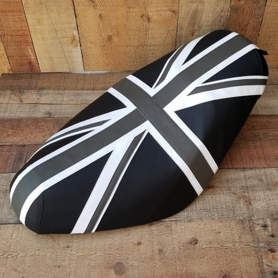 Genuine Buddy Black and Gray Union Jack Seat Cover