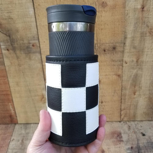 Checker Coozie Scooter Gifts Handmade Travel Cup Holder