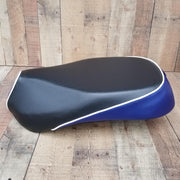 Sym Mio Seat Cover Black and Blue Carbon Fiber Cheeky Seats