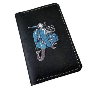 Black Full Grain Leather Field Notes Cover, Handmade Scooter Gifts