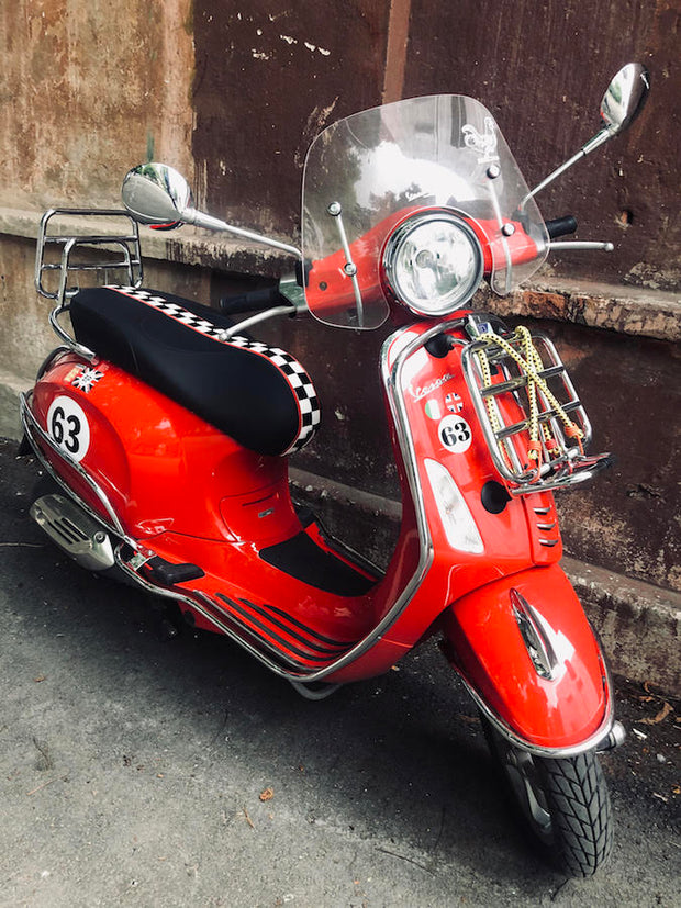 Vespa Sprint / Primavera Checkered Stripe Seat Cover