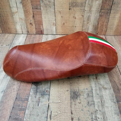 Vespa GTS GTV Euro Gel Chestnut Brown with Italian Stripe Seat Cover