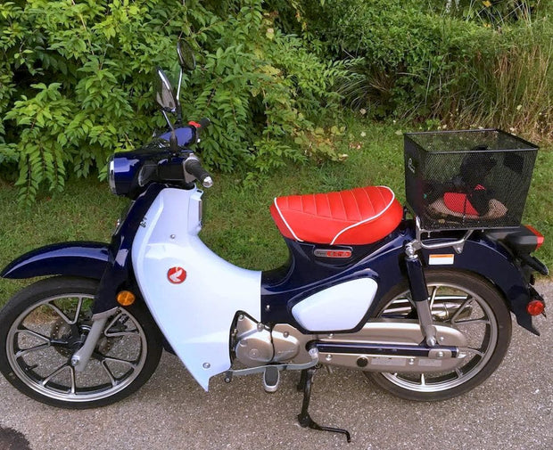Honda C125 Super Cub Red Seat Cover Tuck and Roll