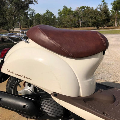 Honda Metropolitan Faux Leather Brown Seat Cover Cheeky Seats
