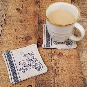 Vespa LX Mug Rug Scooter Gift Grain Sack Handmade Coaster Rustic, Set of 2