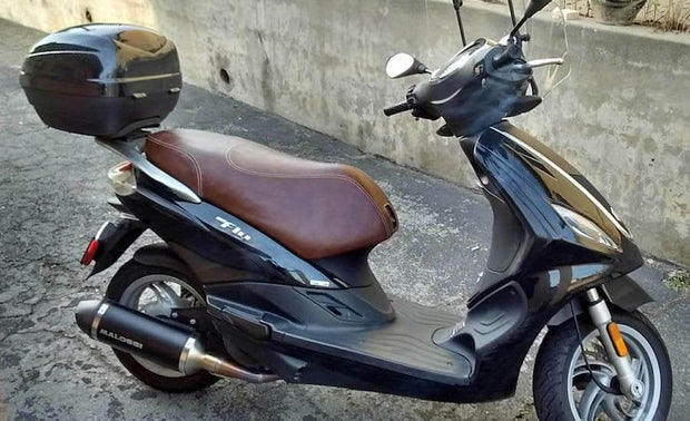 Piaggio Fly 50-150 Whiskey Brown Seat Cover French Seams