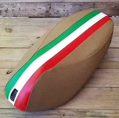 Piaggio Fly Seat Cover Italian Racing Stripe Tan
