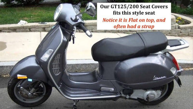 Vespa GT 125 / 200 Black with Piping Seat Cover