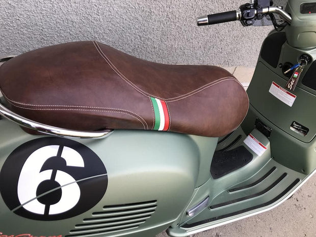 Vespa GTS GTV Sport Saddle Eurogel Seat Cover Whiskey Brown Italian Stripes