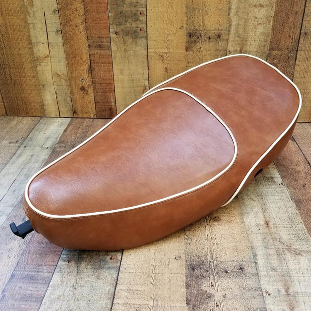Vespa LX 50 150 Seat Cover Caramel Brown Cheeky Seats
