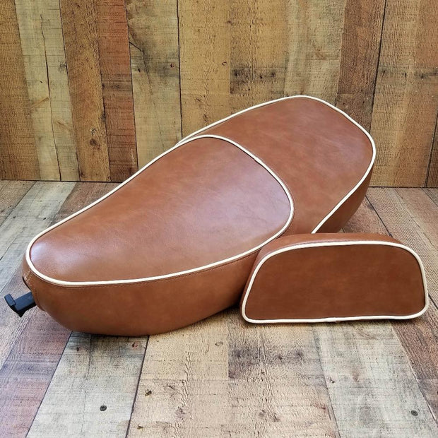 Vespa LX Handmade Seat Cover Brown Tan by Cheeky Seats