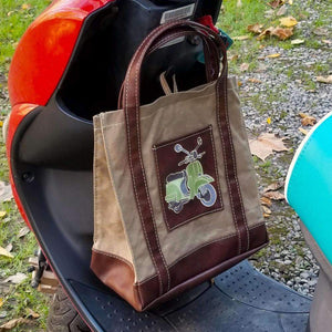 Waxed Canvas Scooter Market Bag Tote Picnic - Vespa Scooter Gifts