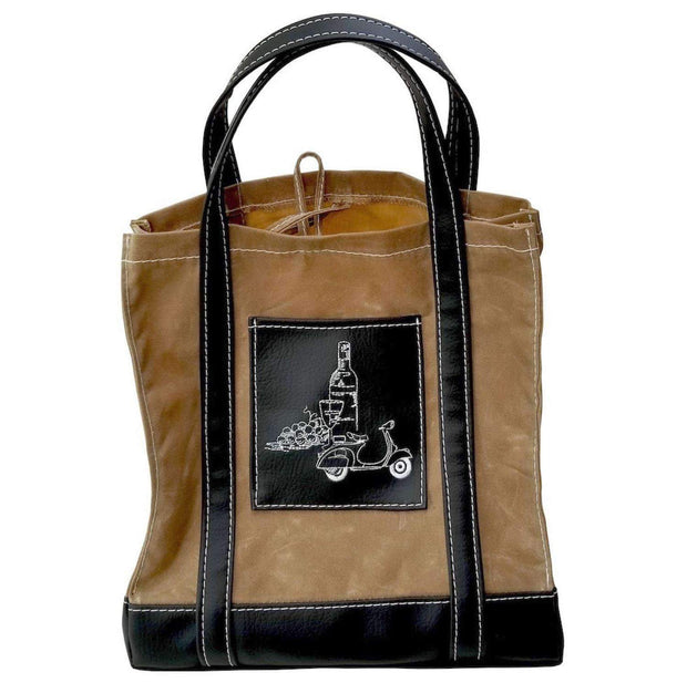 Waxed Canvas Market Tote Bag with Black Accents Vegan Scooter Gifts