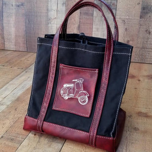 Black Waxed Canvas Market Tote, Vespa Picnic Bag, Scooter Gifts