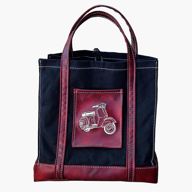 Scooter Gifts Shopping Market Tote Bag Black and Oxblood