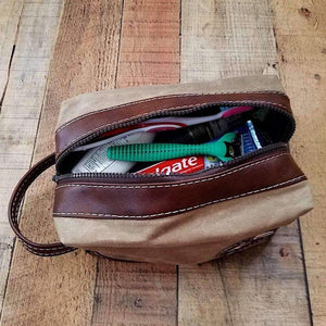 Waxed Canvas Scooter Travel Dopp Bag Lambretta Whiskey Toiletry Kit , Scooter Gifts