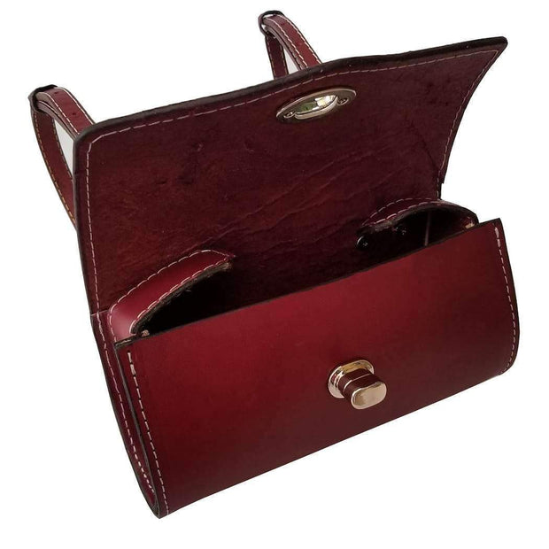 Burgundy Leather Roll Bag Vespa Genuine Scooters Handmade