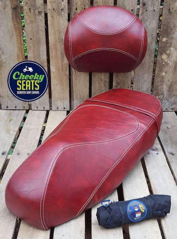 Vespa GT 125 200 Oxblood Seat Cover Extreme French Seams
