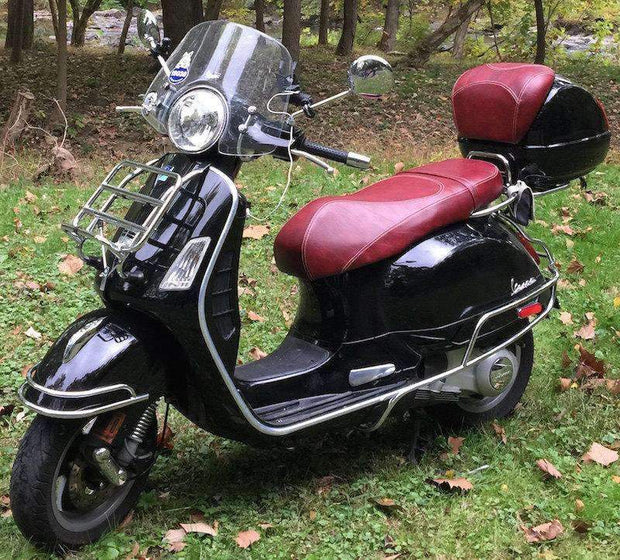 Vespa GT200 oxblood seat cover and backrest cover Cheeky Seats