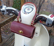 Burgundy Roll Bag on Honda Metropolitan Scooter