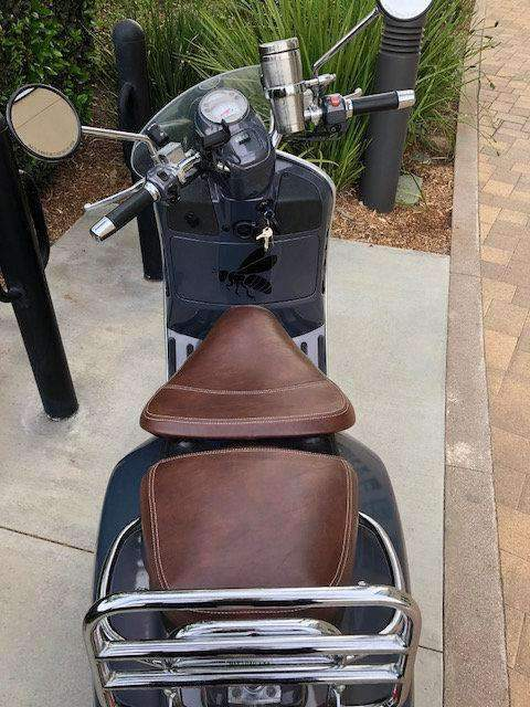 Vespa GTV Distressed Whiskey Seat Cover by Cheeky Seats