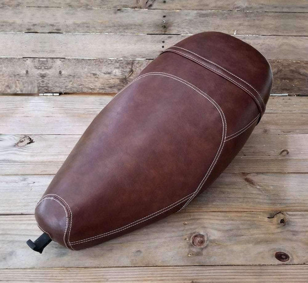 Vespa ET 2/4 Whiskey Brown Seat Cover  French Seams