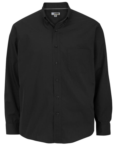 black long sleeve lightweight shirt, men's black shirt, restaurant staff lightweight poplin shirt