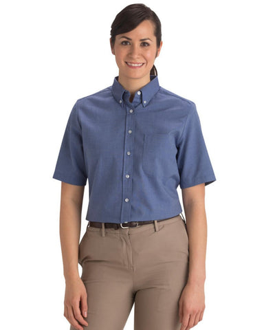 French blue oxford shirt, ladies oxford shirt, ladies short sleeve oxford shirt