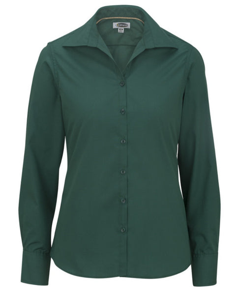 hunter green long sleeve ladies blouse, casual green blouse, fast food server blouse