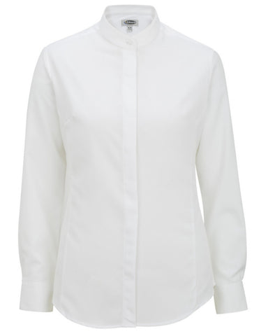 white color server shirt, banded collar shirt, ladies dress shirt