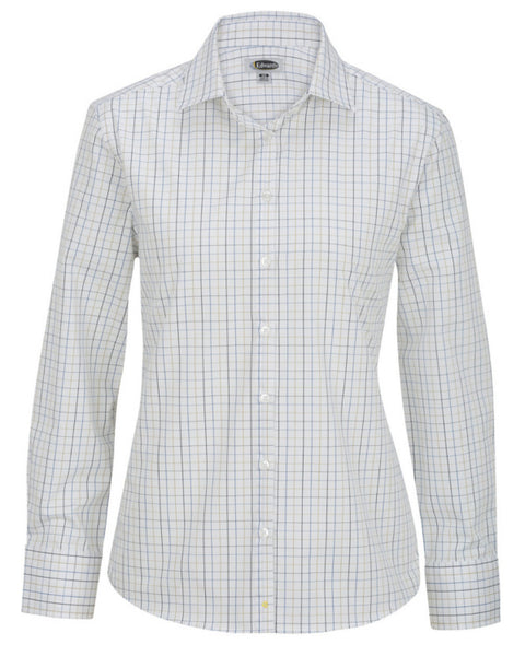 Tattersall Pattern Poplin Shirt, poplin shirt, hotel staff long sleeve shirt