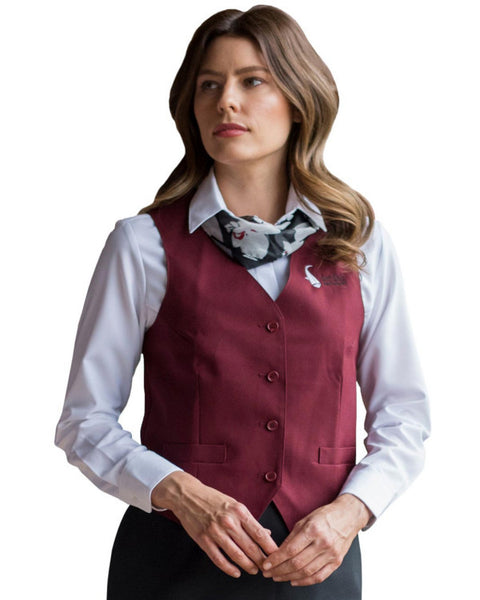 burgundy ladies server vest, server vest, casino server vest, restaurant server vest