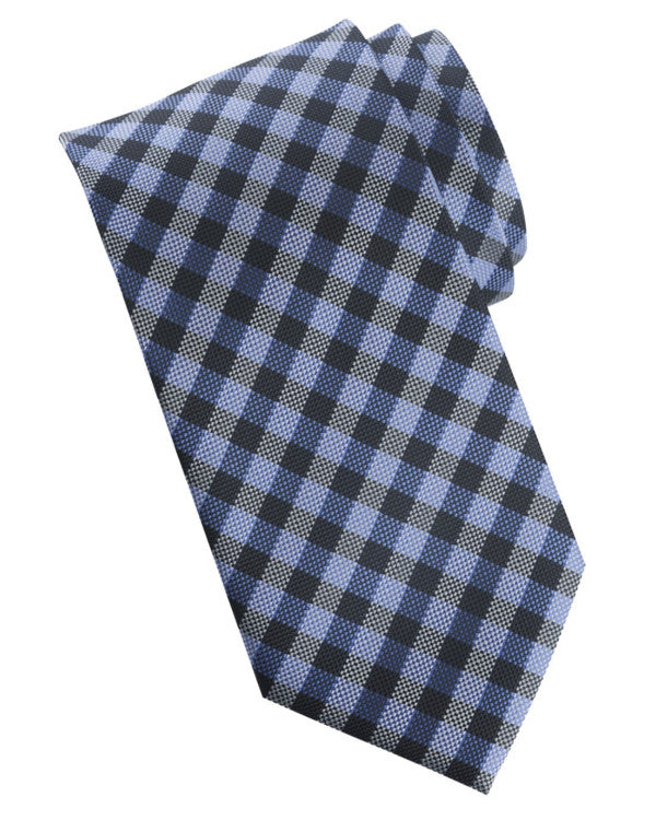 French blue plaid tie, collegiate plaid tie, daily plaid tie