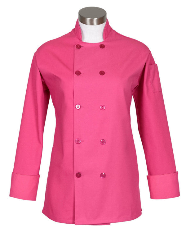 women chef coat, pink chef coat, long sleeve pink chef coat, ladies pink chef coat