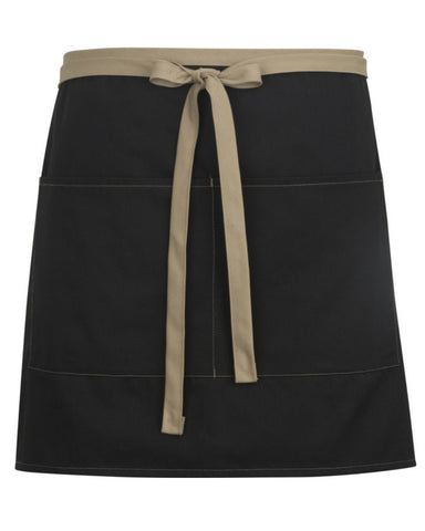 High-Quality Half Bistro Apron with Khaki Color Blocked