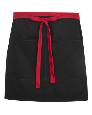 two pocket bistro apron, black and red bistro apron, bistro apron